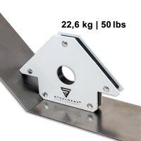 3 × angle de soudage magnétique 11,3 + 22,6 + 34 kg / 25 + 50 + 75 lbs