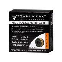 2 × fil de soudure MIG MAG ER70S-6 Ø 0,8 mm / 1 kg rouleau D100