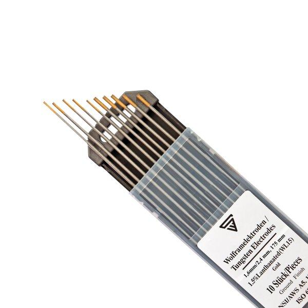 TIG Electrodes de soudage au tungstène 1,6 & 2,4 x 175 mm WL15 or