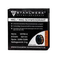 Fil de soudure MIG MAG ER70S-6 SG3 Ø 0,8 mm S200/D200 rouleau 5 kg